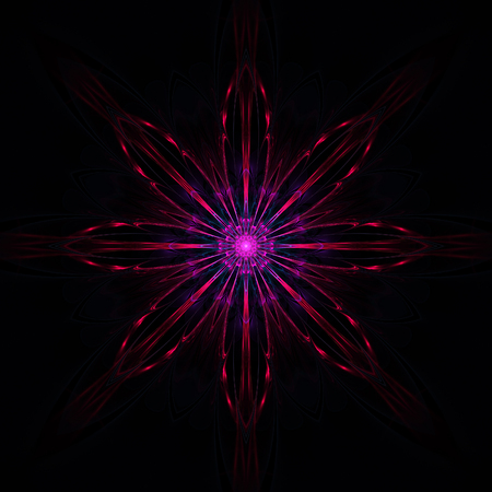 Dark abstract fractal flower on black background