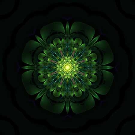 Dark green fractal flower on black background Stock Photo