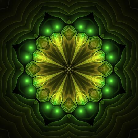 Abstract yellow fractal floral shapes on black background