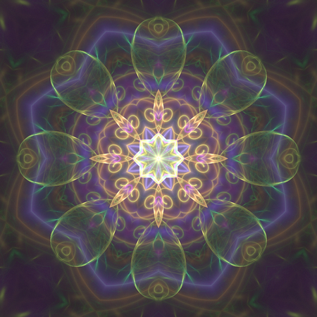 Crazy abstract fractal shapes with kaleidoscopical pattern Stock Photo