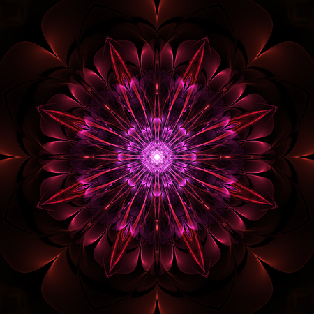 Abstract symmetrical fractal design on black background Stock Photo
