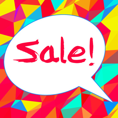 Word sale in speech bubble on colorful background