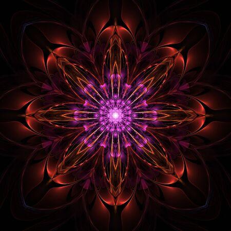 Nice colorful floral mandala fractal graphic design