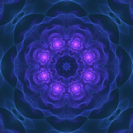 Crazy kaleidoscopic a little bit blurry background in dark blue Stock Photo