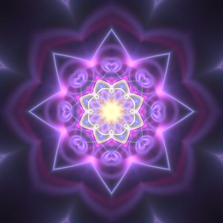 Cute radiating fractal flower on black background