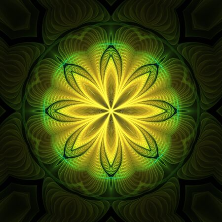 greenish: Abstract yellow fractal mandala shapes on black background