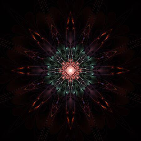 Dark colorful fractal flower on black background