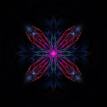Cute abstract fractal cross on black background Stock Photo