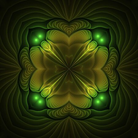 Abstract yellow fractal shapes on black background Stock Photo