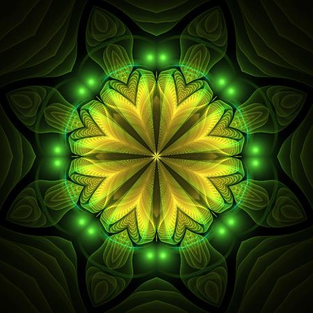 kaleidoscopic: Abstract yellow fractal mandala shapes on black background