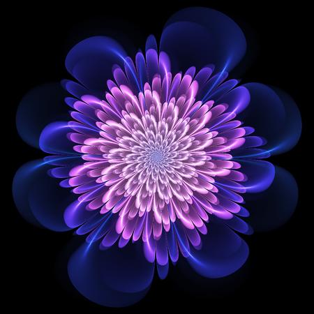 フラクタルの花。花のスタイルでフラクタル アートを抽象化します。フラクタルの藤色の花。フラクタル アート。 写真素材