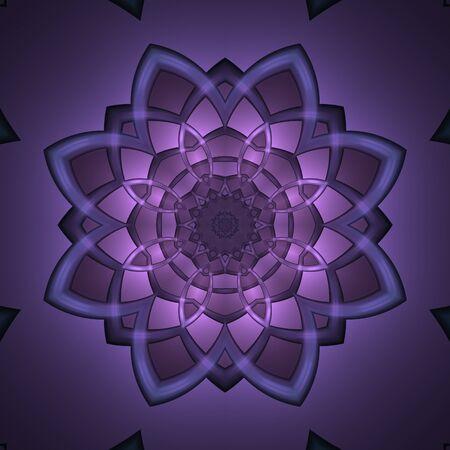 暗い背景を持つクレイジー対称抽象花要素