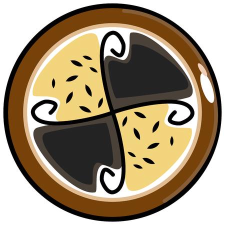 Czech poppy pie from traditional bohemian cuisine Illustration