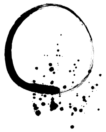 enso: Black zen circle made by ink with stains