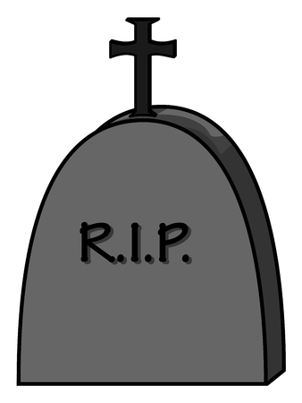 Grey halloween gravestone with abbreviation rest in peace Illustration