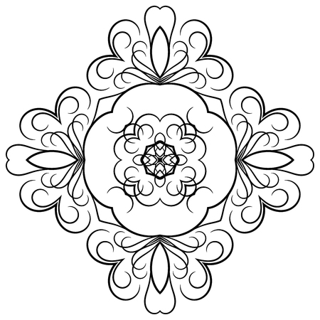 Black symmetrical element in floral style