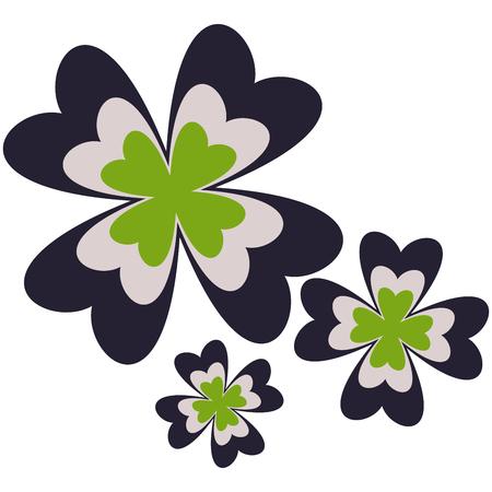 cloverleaf: Three cute floral symbols