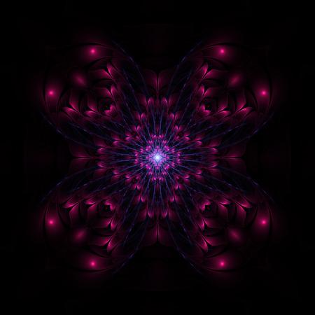 Dark purple floral fractal on black background