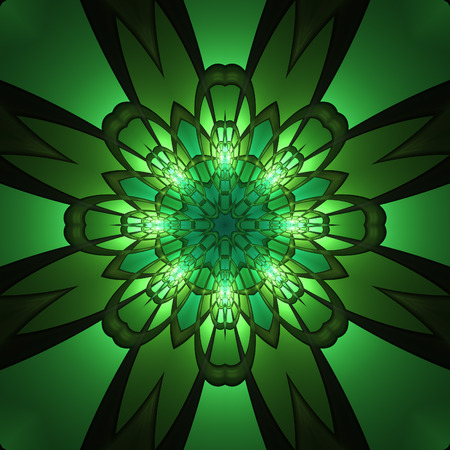 Fractal art design concept of emerald green symmetrical shapes reflected as flower and glowing from inside