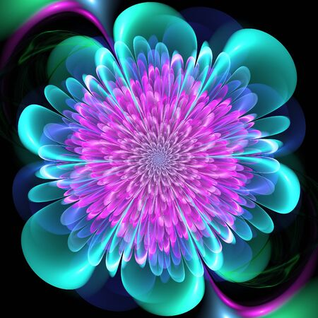 Abstract fractal in floral style. Colorful fractal flower.