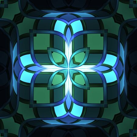 Abstract dark blue intricate design in fractal art style