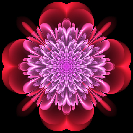 Abstract design in fractal art style - symmetrical motif with glowing Stock Photo