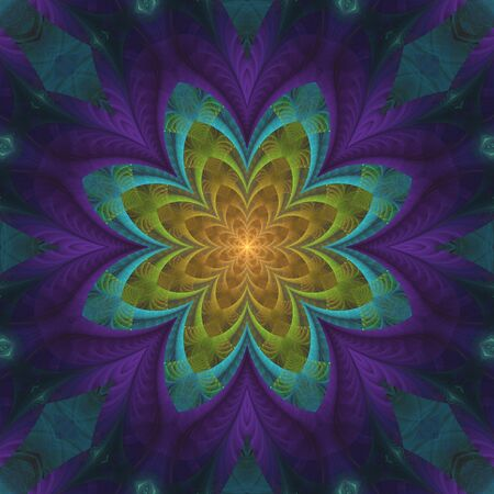 Colorful abstract design in fractal art style - symmetrical flower