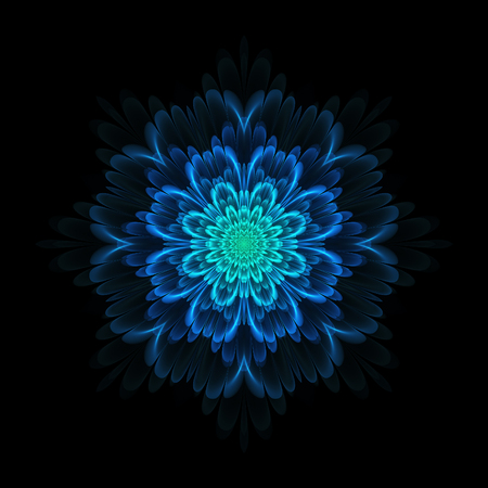 Abstract design in fractal art style - symmetrical flower in blue color