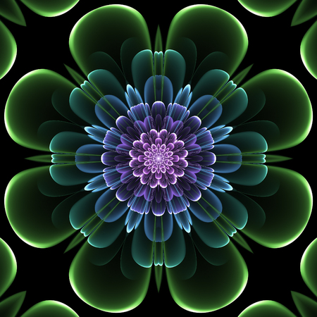 Abstract design in fractal art style - symmetrical flower in dark color Stock Photo