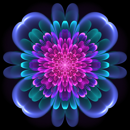 Abstract design in fractal art style - symmetrical pattern with glowing Stock Photo