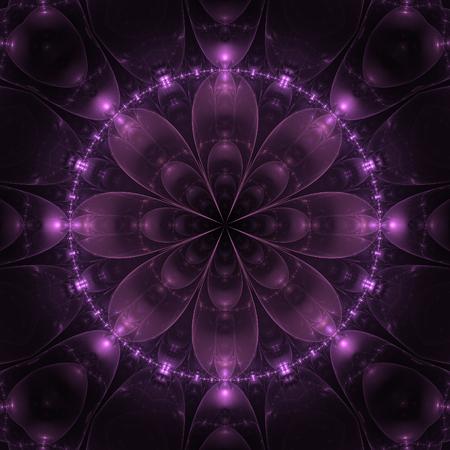 Dark violet fractal mandala on black background