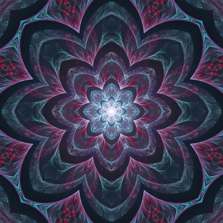 Abstract dark violet mandala design in fractal art style