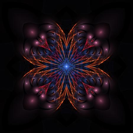 Dark adorable colorful fractal flower on black background Stock Photo
