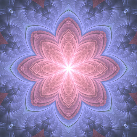 Abstract design in fractal art style - symmetrical flower with glowing