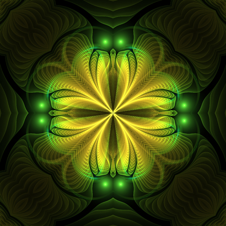 Abstract yellow fractal cross on black background