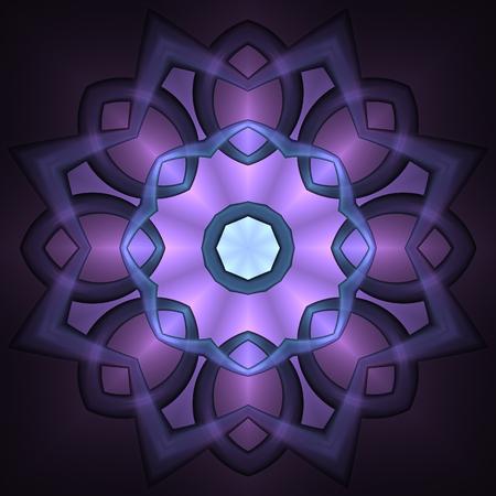 Abstract glow fractal dark mauve mandala concept