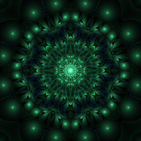 Green abstract fractal graphic design on black background Фото со стока