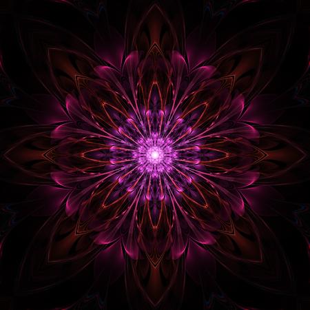 Abstract symmetrical fractal design on black background Фото со стока