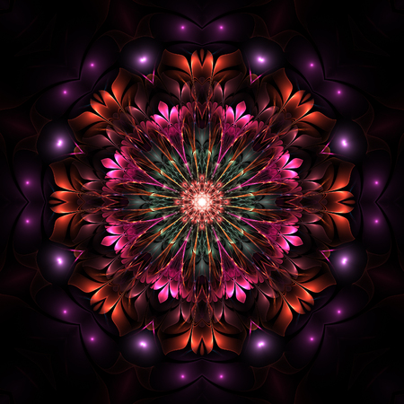 Dark lovely and enchanting colorful fractal flower on black background Фото со стока