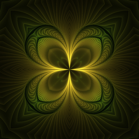 Abstract yellow fractal shapes on black background Фото со стока