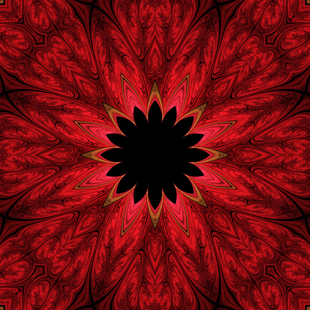 Abstract crazy red symmetrical design in fractal art style Фото со стока