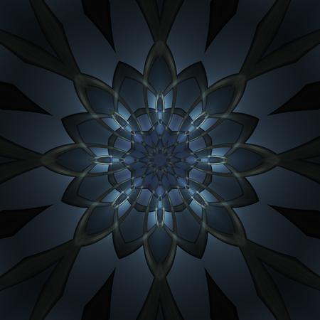 Abstract dark blue design in fractal art style