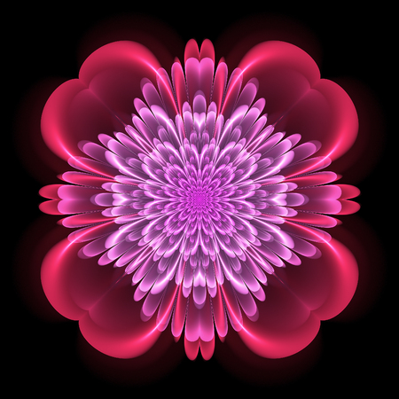 Abstract design in fractal art style - symmetrical motif with glowing Фото со стока