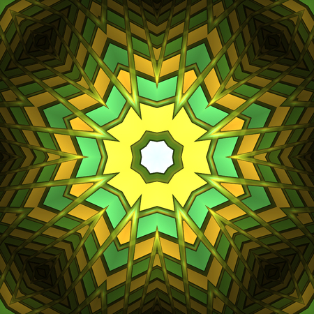Abstract yellow design in fractal art style