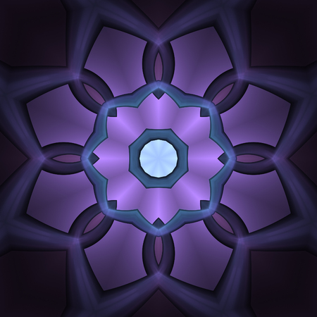 Abstract glow intricate fractal, mauve mandala concept