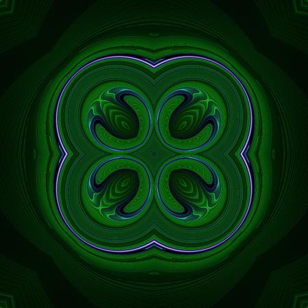 Abstract dark green design in fractal art style Фото со стока