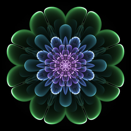 Abstract design in fractal art style - symmetrical flower in dark color Фото со стока