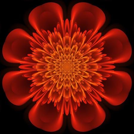 Abstract design in fractal art style - symmetrical flower in orange color