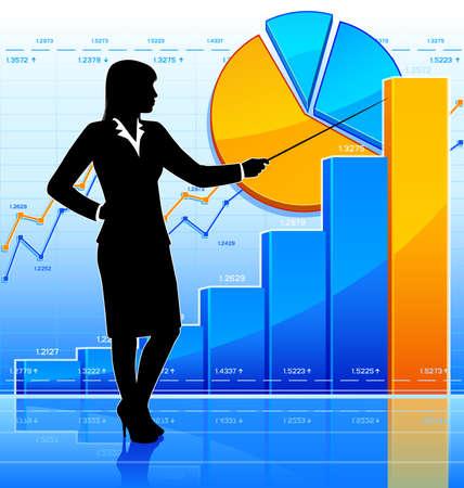 Businesswoman represents growing chart