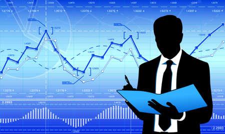 Businessman on financial background.